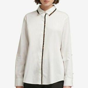 DKNY Top Blouse Shirt White Contrast Trim Sz XS